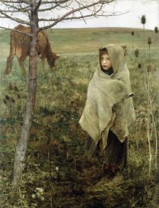 """Jules Bastien Lepage - """"Pauvre Fauvette"""" - 64""""x 49.5"""" - Oil (1881)"""