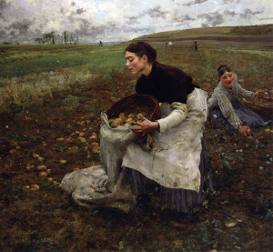 "Jules Bastien Lepage - ""October: Gathering Potatoes"" - 71""x 77"" - Oil  (1879)"