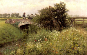 "Emile Claus - ""A Meeting on the Bridge"" - 28.35""x 44.5"" - Oil"