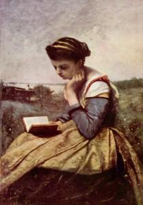 """Woman Reading in a Landscape"" - 21.38""x 14.75"" - Oil   (1869)"