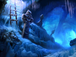 """""""Dire Grove, Ice Cave"""" - 21""""x 28"""" - Digital Painting"""