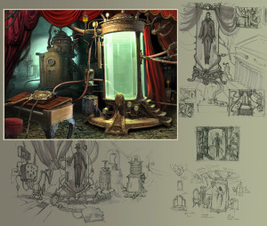"""""""Ravenhearst Chamber"""" (with sketches) - 23""""x 28"""" - Digital Painting"""