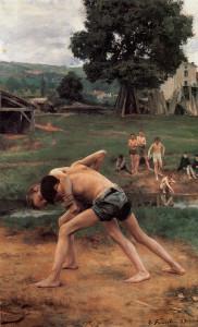"""Emile Friant - """"Wrestling"""" - 71""""x 44.87"""" - Oil (1889)"""