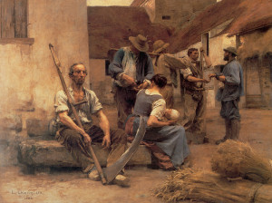 "Leon Augustin L'hermitte - ""Paying the Harvestors"" - 84.75""x 107"" - Oil   (1892)"