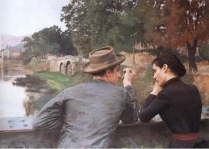 """Emile Friant - """"Les Amoureux"""" - 43.7""""x 57"""" - Oil"""