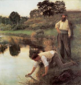 "Jules-Alexis Muenier - ""Tramps"" - 57.75""x 56.25"" - Oil (1896)"