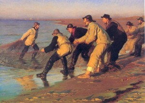 "Peder Severin Kroyer - ""Pescadores en la Playa"" - Oil   (1883)"