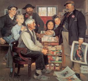 """Jean Buland - """"Scene de Propagande"""" - 71""""x 74.75"""" - Oil (1889)"""