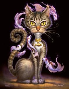 """Feline Fantasy"" - 14""x 11"" - Digital Painting"