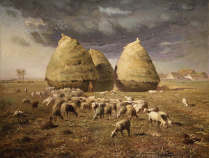 """Haystacks: Autumn"" - 33.5""x 43.32"" - Oil  (1874)"