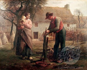 """Man Grafting a Tree"" - 31.87""x 39.37"" - Oil   (1855)"