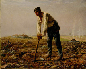 "Jean Francois Millet - ""Man with a Hoe"" - 31.5""x 39"" - Oil  (1860-62)"
