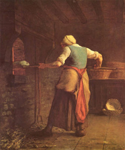 """Peasant Woman Baking Bread"" - 21.67""x 18.12"" - Oil  (1853-54)"