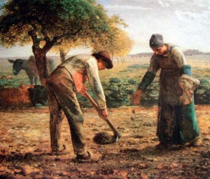 """Planting Potatoes"" - 32.5""x 39.87"" - Oil  (1861-62)"