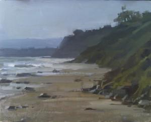 """Arroyo Haze"" (Plein Air) - 8""x 10"" - Oil   (Jason's first attempt at painting the ocean)"