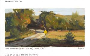 """""""Flint Hills Road"""" - 3.75""""x 7.5"""" - Oil on paper"""
