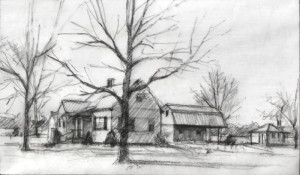 Compositional study. Charcoal sketch on tracing paper.