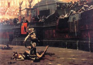 "Jean-leon Gerome - ""Thumbs Down"" - 38""x 58.74"" - Oil   (1872)"