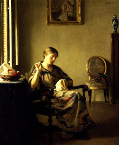 """William Paxton - """"Woman Sewing"""" - 30""""x 25"""" - Oil   (1913)"""