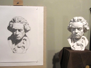 Drawing from a plaster cast at the Thomas More College of Liberal Arts