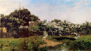 """""""Long Island Farm, Springtime"""" - 29.38""""x 52.38"""" - Oil - (1881)"""