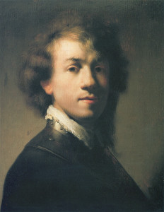 """""""Portrait of Rembrandt with Gorget"""" - 14.87""""x 11.38"""" - Oil  (1629)"""