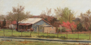 """""""Barn at the Curve"""" - 8""""x 16.5"""" - Oil - $1950."""
