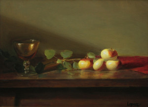 """Amber Glass with Lady Apples"" - 9""x 12"" - Oil"