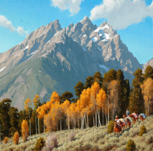 """""""Out of the Tetons"""" - 36""""x 36"""" - Oil"""