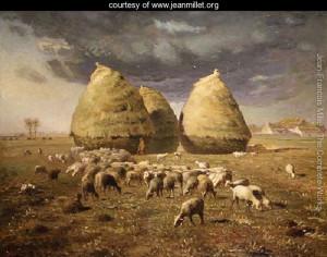 "Jean-Francois Millet - ""Haystacks, Autumn"" - 33.47""x 43.31"" - Oil"
