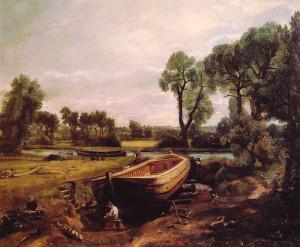 "John Constable - ""Boat Building"" - 20""x 24.25"" - Oil"