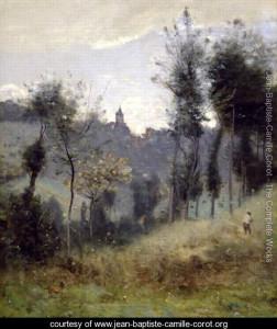 """Jean-Baptiste-Camille-Corot - """"Canteleu Near Rouen"""" - 22.44""""x 19.69"""" - Oil"""
