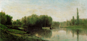 "Charles-Francois Daubigny - ""Les Bords de l'Oise"" - 35.38""x 71.68"" - Oil"