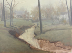 This is a painting I'm working on. Remnants of the raw umber block-in are still visible. All the values were established monochromatically prior to adding color. Notice how soft and vague the edges are as the scene recedes. High contrast or  hard edges in the distance would totally destroy the desired mood.