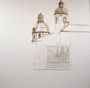 This shows the carefully worked out perspective drawing that was used to grid up to the larger size.