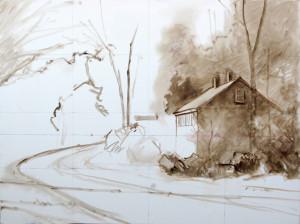 Minimal drawing, massing of  values