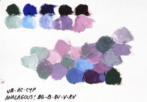 Extended analogous palette choice: blue-green, blue, blue-violet, violet, red-violet