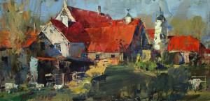 """""""Nowlin Farm"""" (plein air) - 9""""x 18"""" - Oil"""