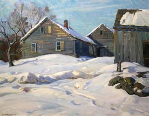 """Farm House in Winter"" - 24""x 29"" - Oil"