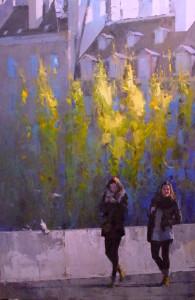 """""""Sunny Stroll, Paris"""" - 72""""x 48"""" - Oil"""