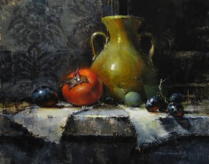 """Ochre Vase with Persimmon"" -"