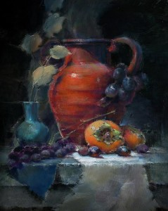 """Persimmons with Red Vase"" - 11""x 14"" - Oil"
