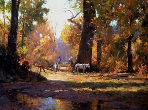 """""""Gathering Wood for Winter"""" - 30""""x 40"""" - Oil"""