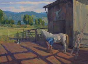"""""""Ranch Near Buffalo River"""" - 12""""x 16"""" - Oil"""