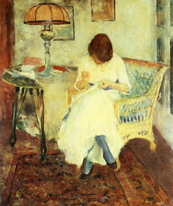 """""""Girl Sewing"""" 30""""x 29.5"""" - Oil  (1923)"""