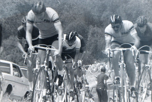 Attacking a hill in a Rose Bowl race with teammate Dave Christopher. I'm on the right, also in PAA jersey.