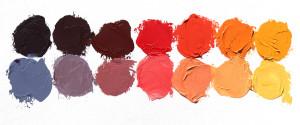 L>R: Blue Violet, Violet, Red Violet, Red, Red Orange, Orange, Yellow Orange