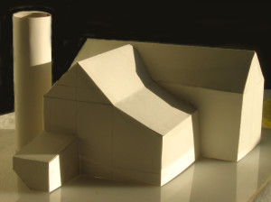 Balsawood model created in order to determine correct shadow patterns on barn
