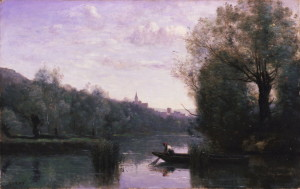"""Banks of the Somme at Picquigny"" - 15.12""x 33.75"" - Oil  (1870)"