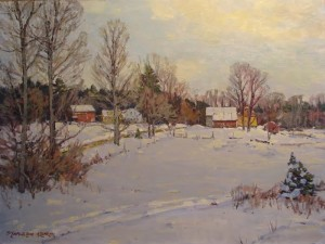 """A New York Farm in Snow"" - 18""x 24"" - Oil"